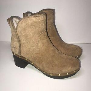 Women's UGG Cam II Clog Suede Sheepskin Boots Sz 7